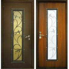 Входная металлическая дверь Лоза Винорит голден со стеклопакетом