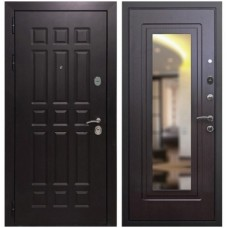 Входная металлическая дверь Страж Квадро с зеркалом (венге)