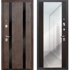 Входная металлическая дверь Zetta Премьер 100 с зеркалом Тиковое Дерево/Венге