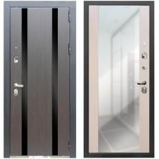 Входная металлическая дверь Zetta Премьер 100 с зеркалом Кора Черная/Белый Венге